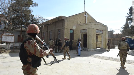 Pakistani military presence after church attack.