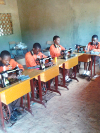 Students using sewing machines