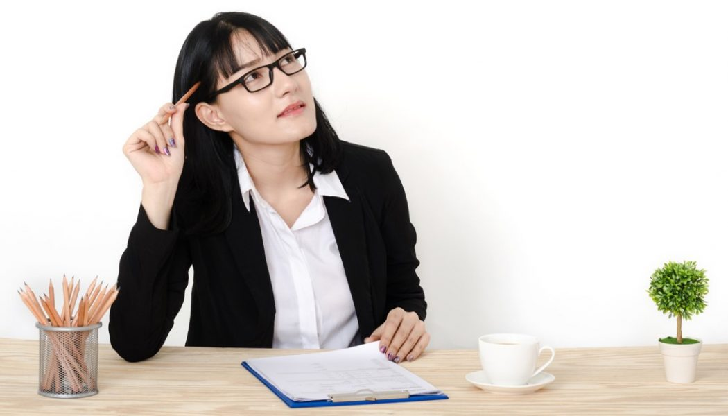 Woman answering a list of questions