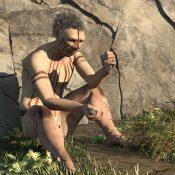 Caveman holding flint tools