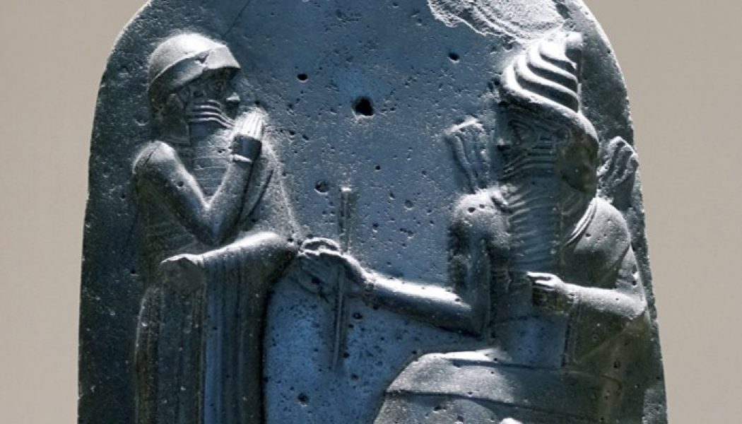 Hammurabi receiving the law from sun god Shamash