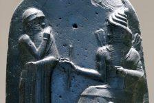 Hammurabi receiving the law from sun god Shamash