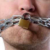 Man with chained mouth