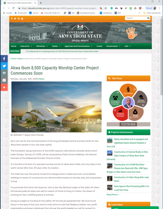 Official government web page promoting the worship centre Pt 1