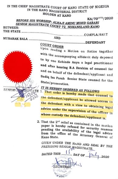 Mubarak Bala Court Order